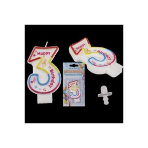 Narodeninová sviečka Happy Birthday v tvare 3