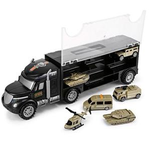 Vojenské nákladné auto s vozidlami